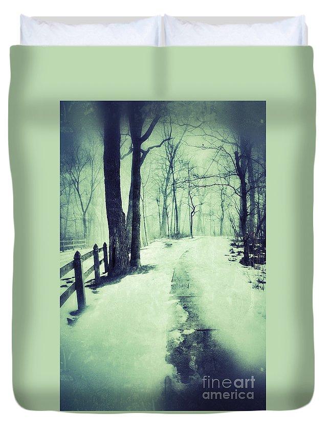 Rural Duvet Cover featuring the photograph Snowy Wooded Path by Jill Battaglia