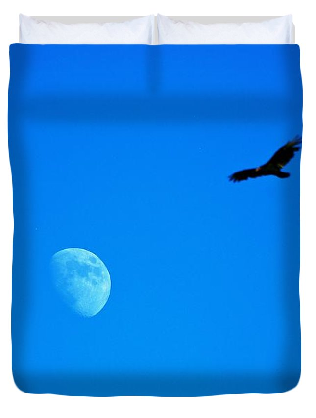 Moon Duvet Cover featuring the photograph Soaring Over The Moon by Eric Tressler