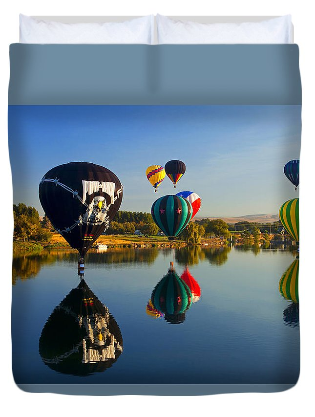 Balloons Duvet Cover featuring the photograph Soft Landings by Mike Dawson