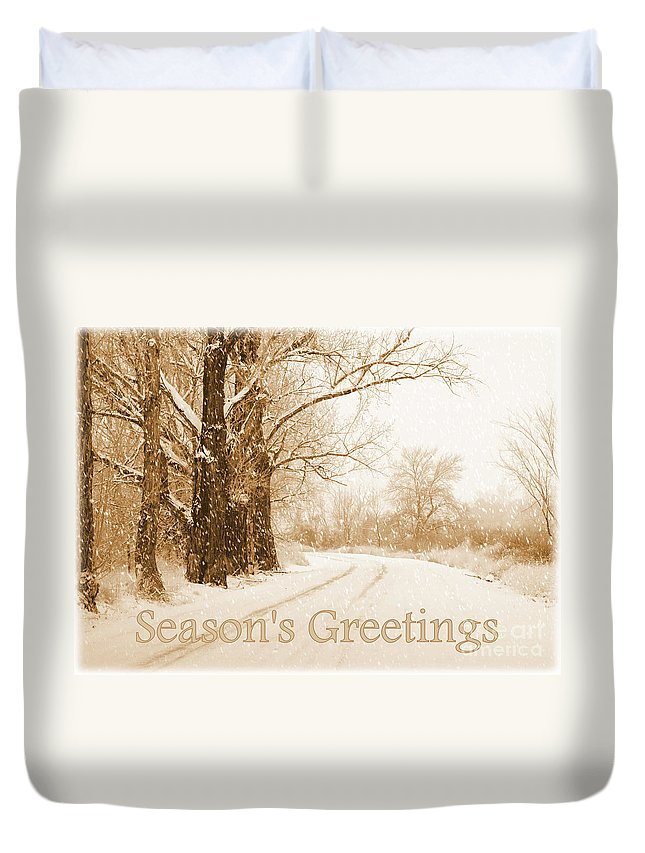 Christmas Card Duvet Cover featuring the photograph Soft Sepia Season's Greetings Card by Carol Groenen