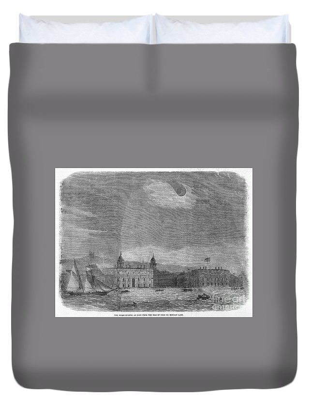1858 Duvet Cover featuring the photograph Solar Eclipse, 1858 by Granger