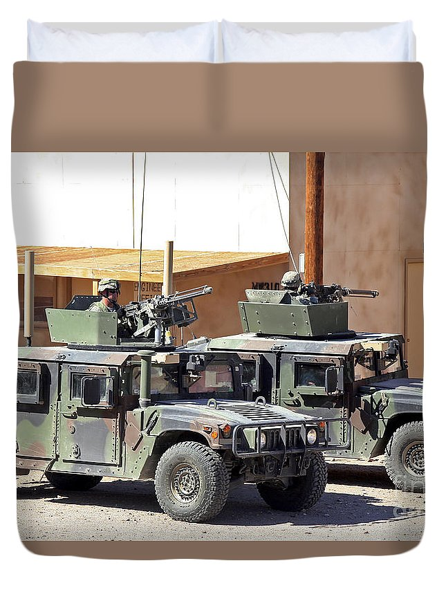 Turret Duvet Cover featuring the photograph Soldiers Provide Overwatch For Fellow by Stocktrek Images