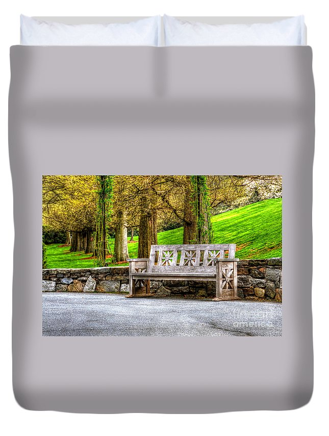 Bench Duvet Cover featuring the photograph Solitude by Debbi Granruth