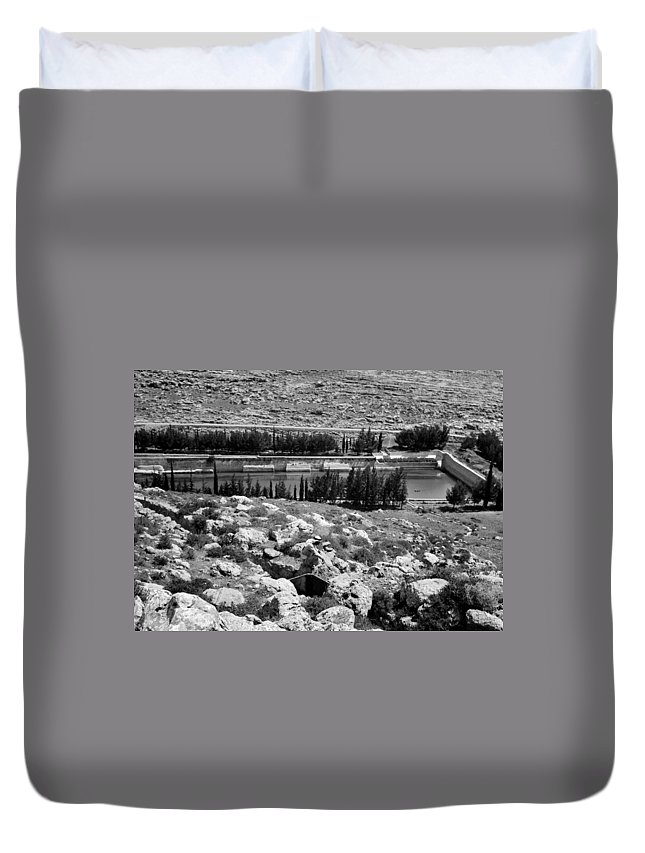 Solomon's Pools Duvet Cover featuring the photograph Solomon's Pools 1939 by Munir Alawi
