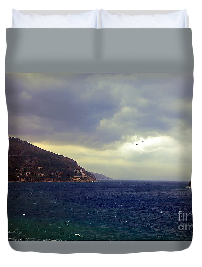 Seascape Duvet Cover featuring the photograph Somewhere Beyond The Sea 1 by Madeline Ellis