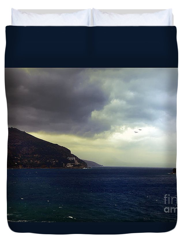 Seascape Duvet Cover featuring the photograph Somewhere Beyond The Sea 2 by Madeline Ellis