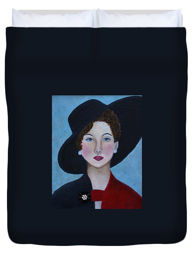 Lady In Hat Duvet Cover featuring the painting Sophia by The Art With A Heart By Charlotte Phillips