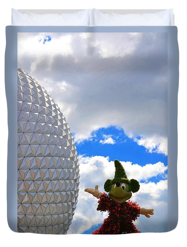 Photo Duvet Cover featuring the photograph Sorcerer Mickey by Bonnie Myszka