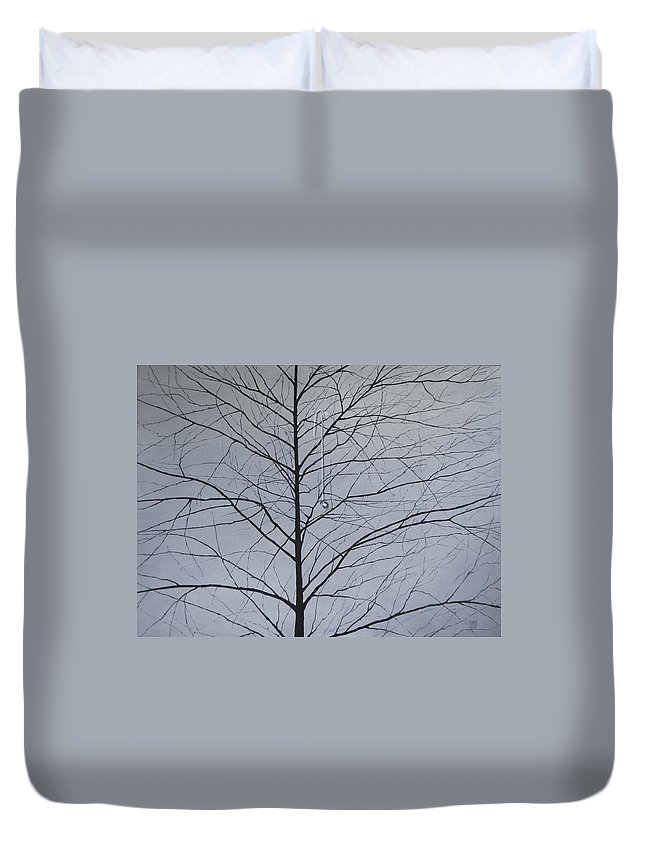 Winter Trees Duvet Cover featuring the painting Sorrow by Roger Calle
