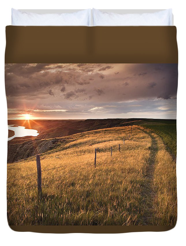 Light Duvet Cover featuring the photograph South Saskatchewan River Near Leader by Darwin Wiggett