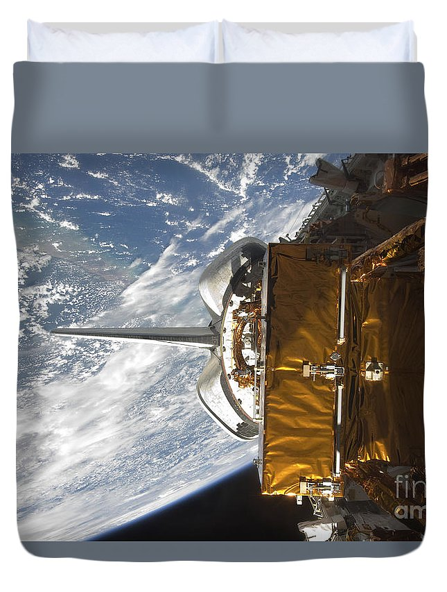 Sts-125 Duvet Cover featuring the photograph Space Shuttle Atlantis Payload Bay by Stocktrek Images