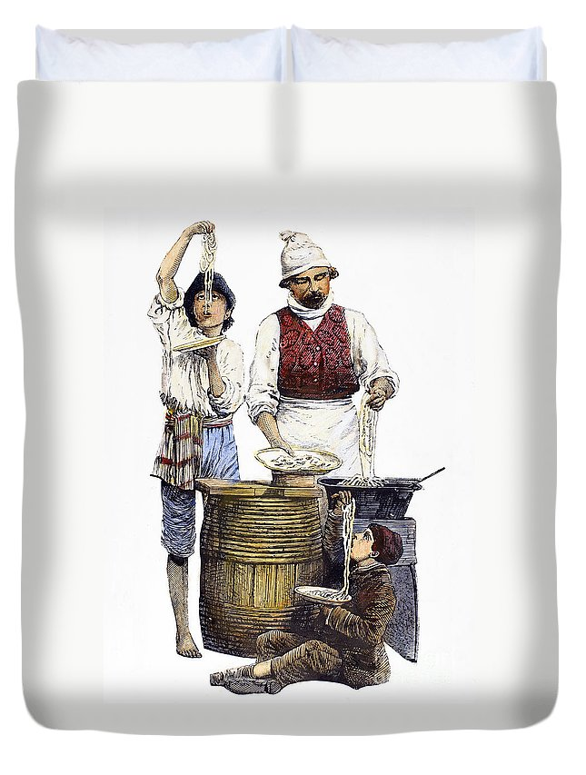 19th Century Duvet Cover featuring the photograph Spaghetti Vendor by Granger