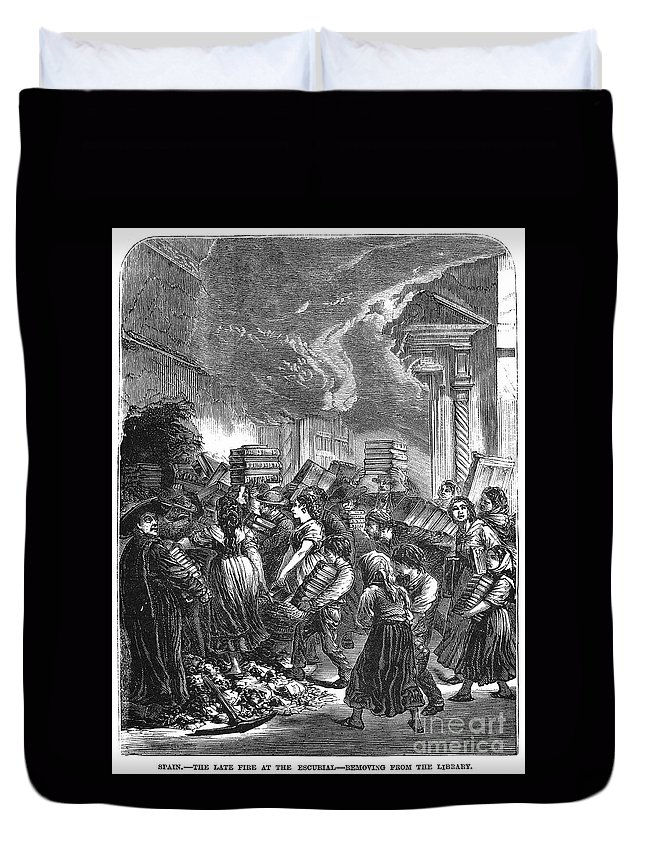 1873 Duvet Cover featuring the photograph Spain: Escorial Fire, 1873 by Granger