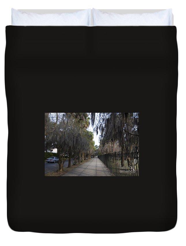 Savannah Duvet Cover featuring the photograph Spanish Moss Sidewalk by Tim Mulina