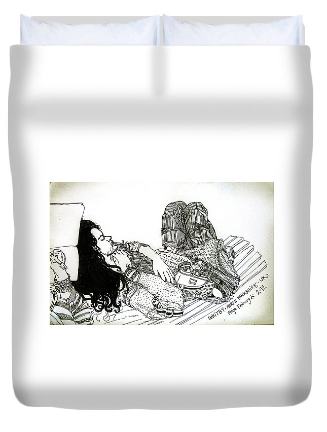 Nikon Camera Graphic Duvet Cover featuring the drawing Sparrow in Whitby by Freja Friborg
