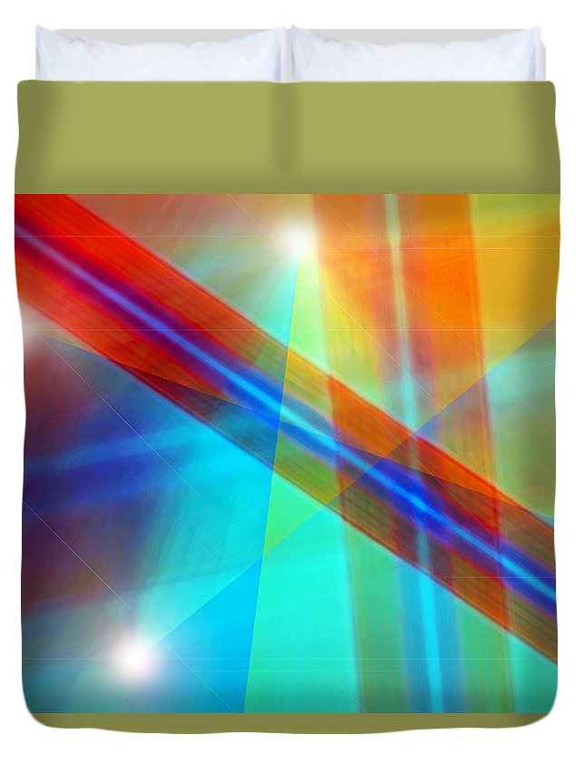 Light Canvas Prints Duvet Cover featuring the digital art Spectrum Correction by Marie Jamieson