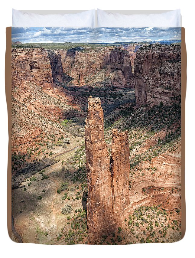 Southwest Duvet Cover featuring the photograph Spider Rock - Canyon De Chelly by Sandra Bronstein