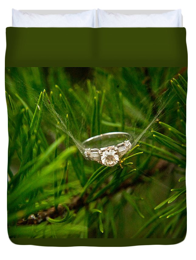 Romance Duvet Cover featuring the photograph Spider Webs And Diamond Rings 10 by Douglas Barnett