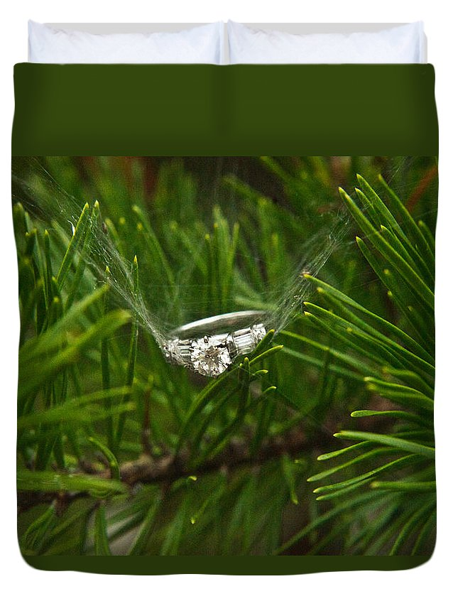 Romance Duvet Cover featuring the photograph Spider Webs And Engagement Ring 11 by Douglas Barnett