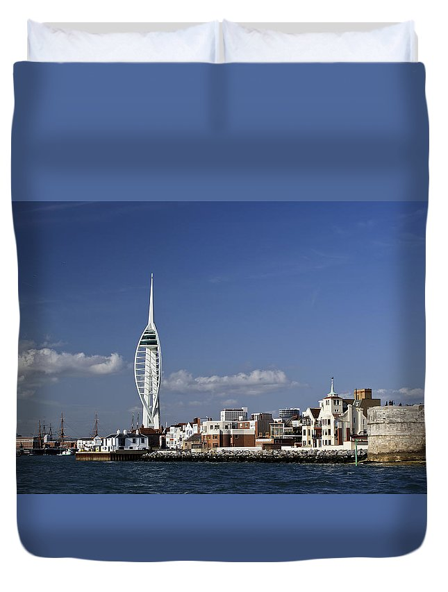 Portsmouth Duvet Cover featuring the photograph Spinnaker Tower And Round Tower Portsmouth by Gary Eason