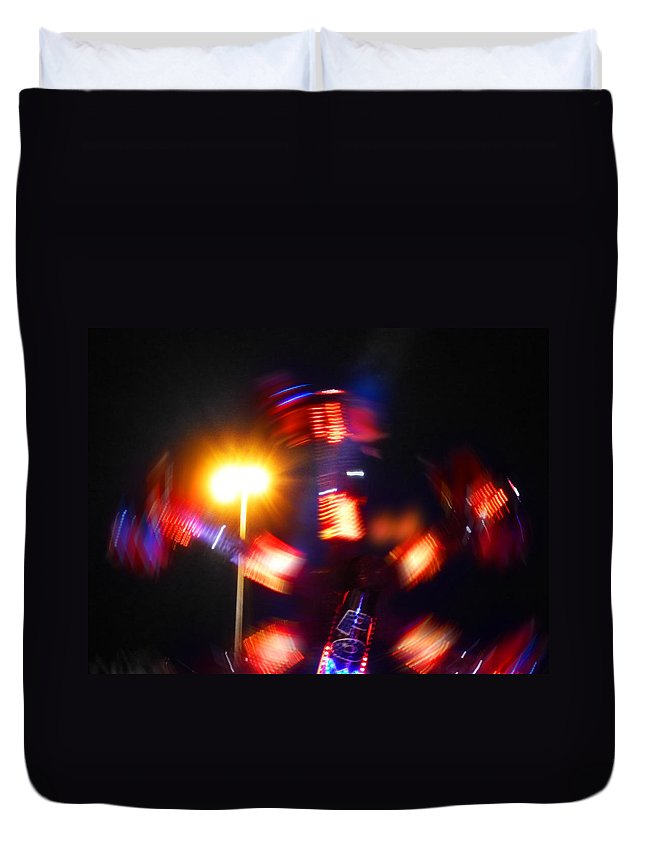 Fairground Abstract Duvet Cover featuring the digital art Spinning Ride by Charles Stuart