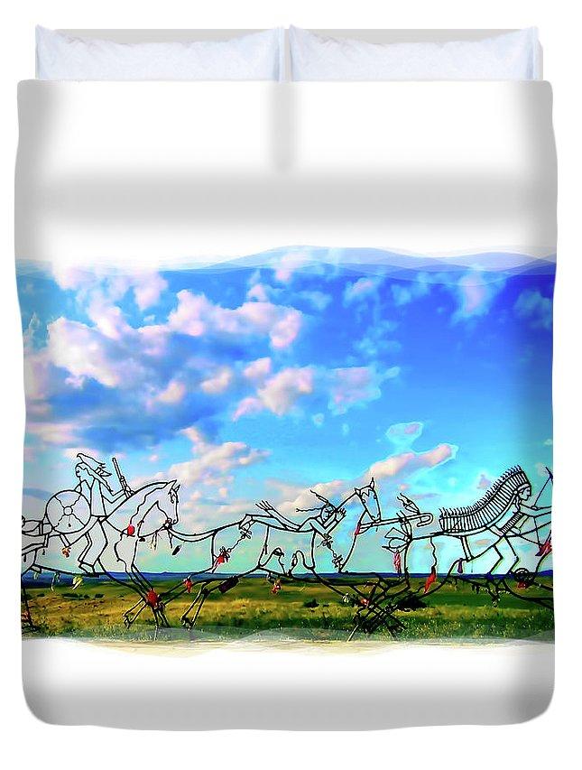 Little Bighorn Indian Memorial Duvet Cover featuring the digital art Spirit Warriors - Little Bighorn Battlefield Indian Memorial by Gary Baird