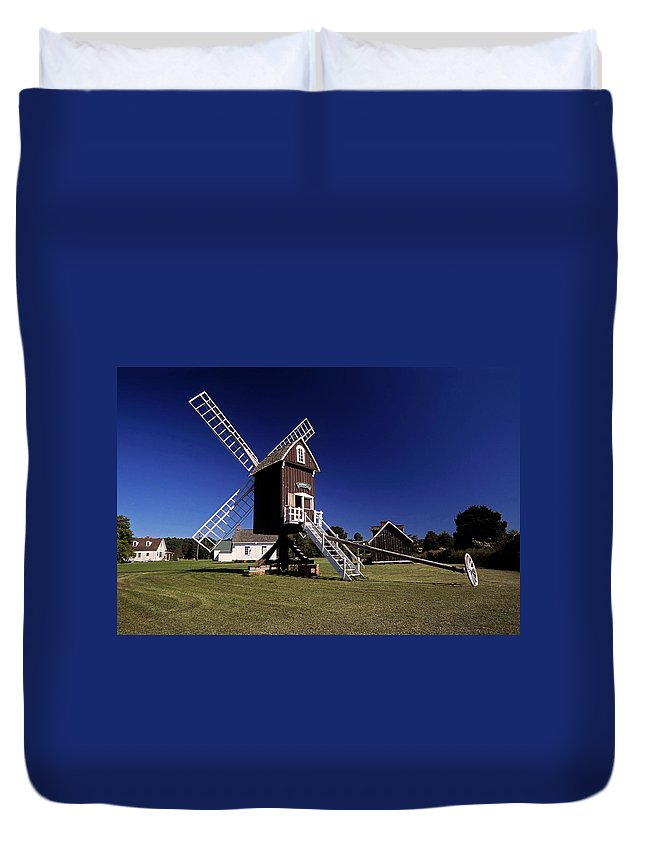 Spocott Windmill Duvet Cover featuring the photograph Spocott Windmill by Sally Weigand
