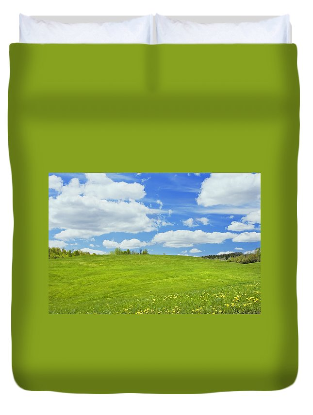 Spring Duvet Cover featuring the photograph Spring Farm Landscape With Blue Sky In Maine by Keith Webber Jr