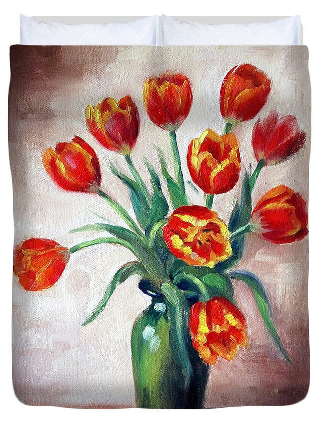 Tulips Duvet Cover featuring the painting Spring Tulips by Karin Leonard