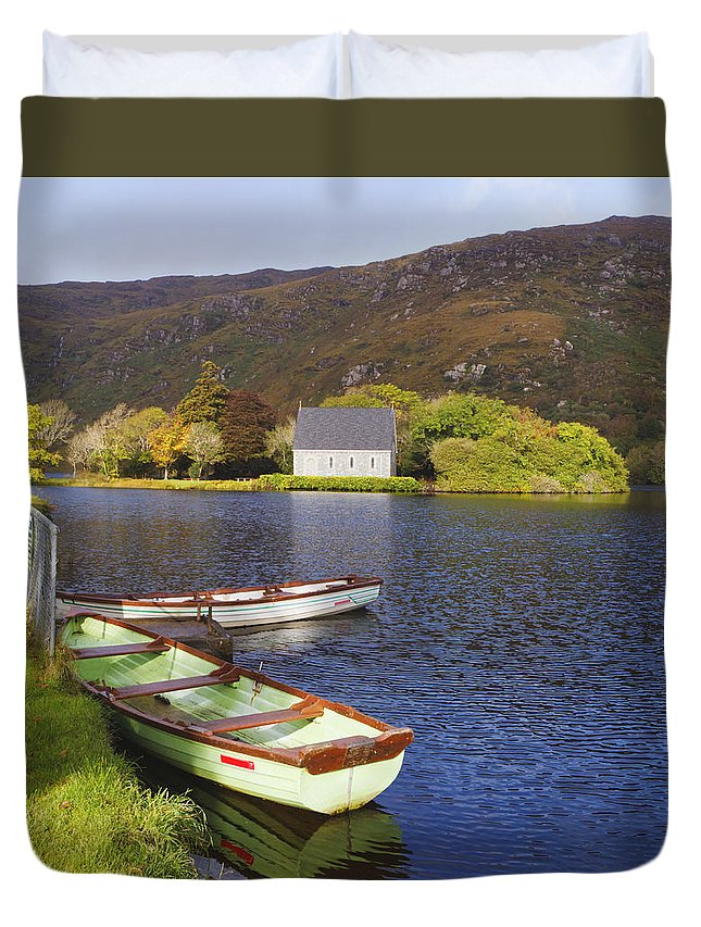 Building Duvet Cover featuring the photograph St. Finbarres Oratory And Rowing Boats by Ken Welsh
