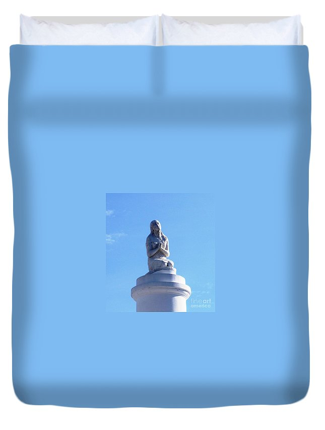 Photograph Duvet Cover featuring the photograph St. Louis Cemetery Statue 1 by Alys Caviness-Gober