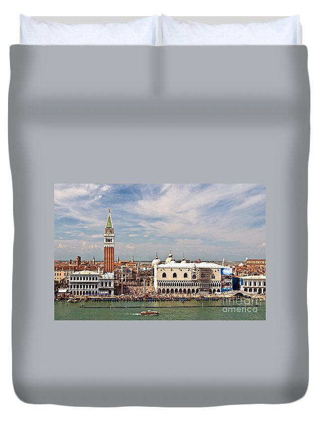 Rowing Duvet Cover featuring the photograph St. Marks Square Venice by Jim Chamberlain