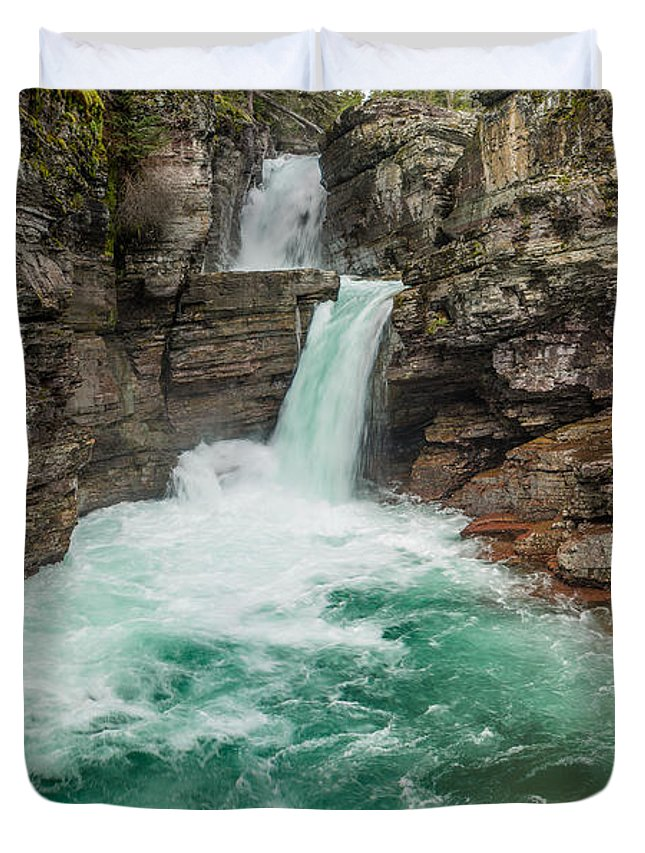 St. Mary Falls Duvet Cover featuring the photograph St. Mary Falls In Spring by Greg Nyquist