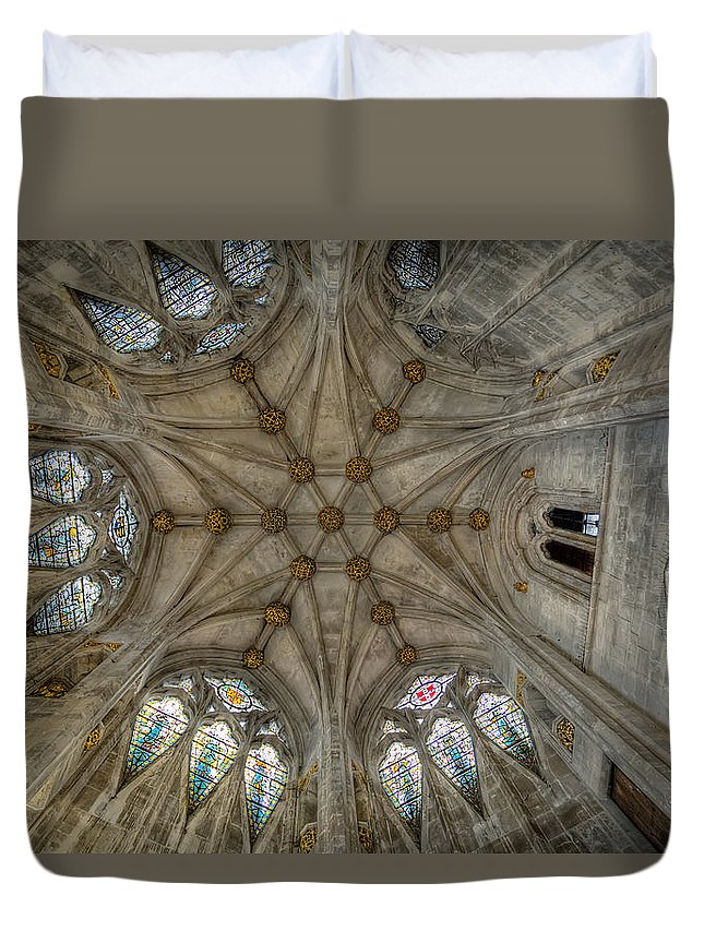 Architecture Duvet Cover featuring the photograph St Mary's Ceiling by Adrian Evans