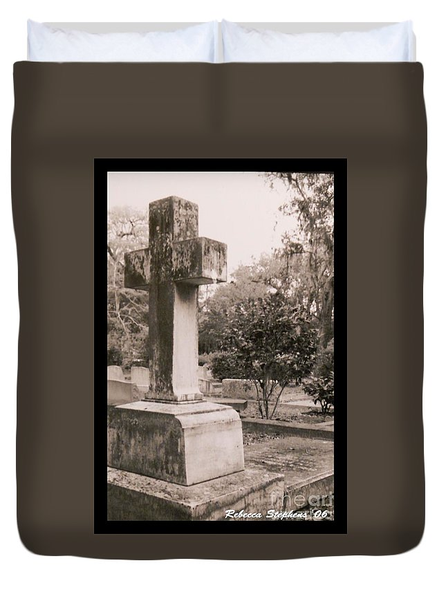 Grave Duvet Cover featuring the photograph St. Marys Graveyard by Rebecca Stephens
