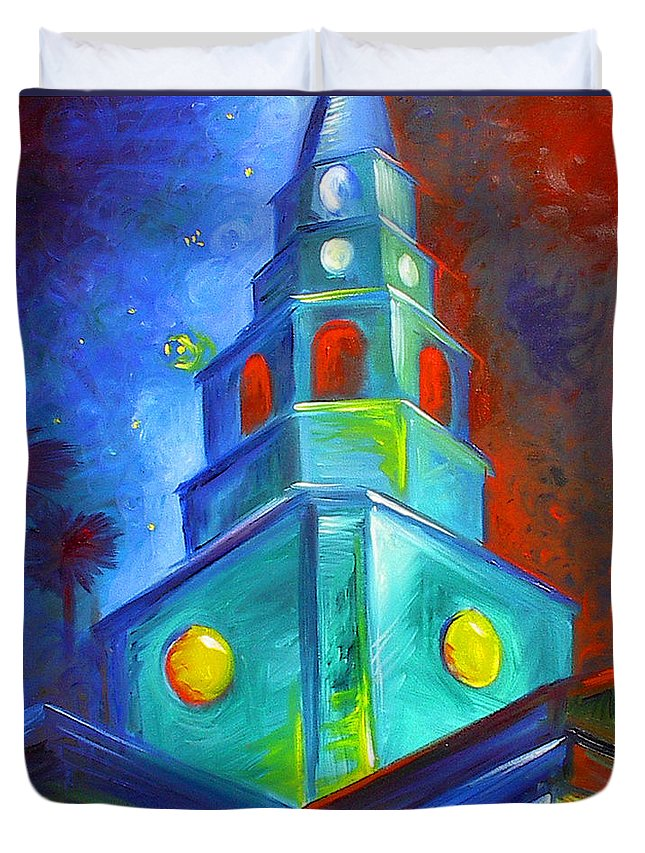 Sky; Impressionist; House; Charleston; Tree; Flowers; Blue; Red; Green; Yellow; Contemporary; Street; Road; Vintage; Old; Southern; Antebellum; James Christopher Hill; Jameshillgallery.com; Ocean; Lakes; Creation; Genesis; Church Duvet Cover featuring the painting St. Michael's Church by James Christopher Hill