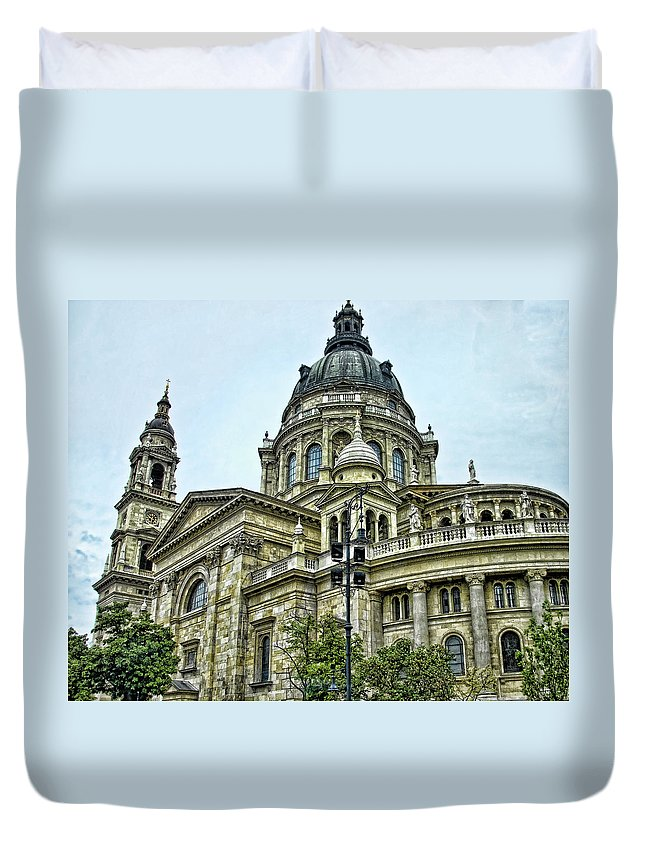 Stephens Cathedral Budapest Hungary Duvet Cover featuring the photograph St Stephens Cathedral - Budapest by Jon Berghoff