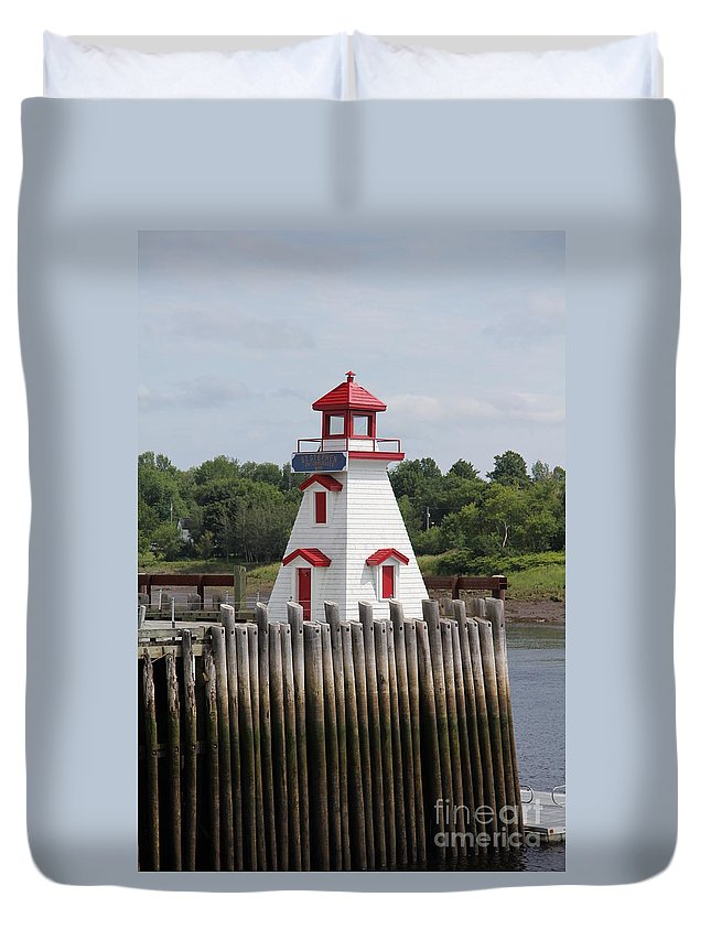 St. Stephen Lighthouses Duvet Cover featuring the photograph St Stephens by Diane Greco-Lesser