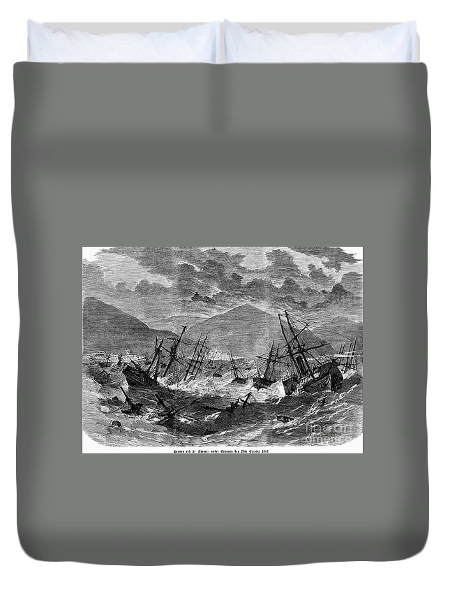 1867 Duvet Cover featuring the photograph St. Thomas: Hurricane, 1867 by Granger