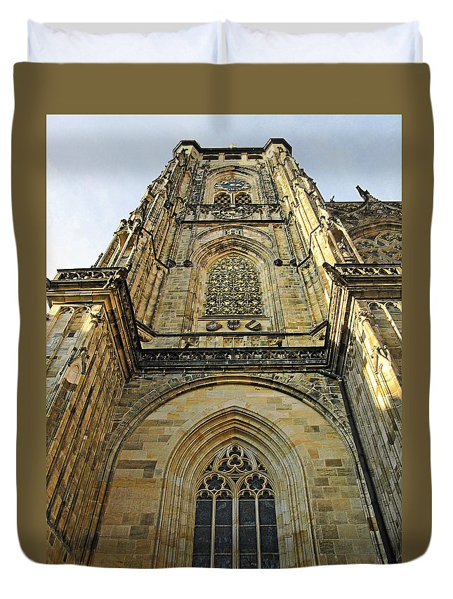 Vitus Duvet Cover featuring the photograph St Vitus Cathedral Prague - The Realms Of 'non-being' by Christine Till