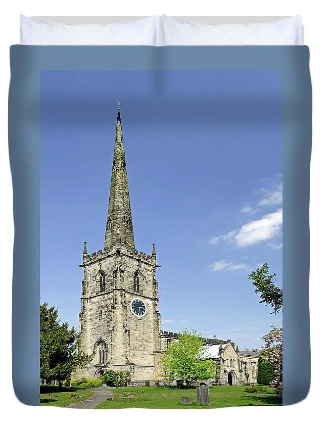 Derbyshire Duvet Cover featuring the photograph St Wystan's Church - Repton by Rod Johnson