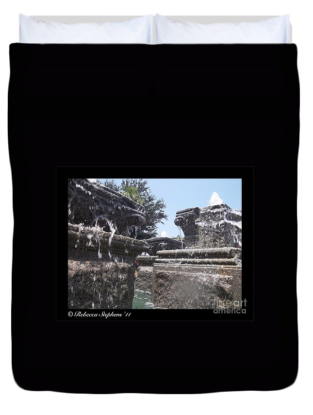 Water Duvet Cover featuring the photograph Staggered Tiers by Rebecca Stephens