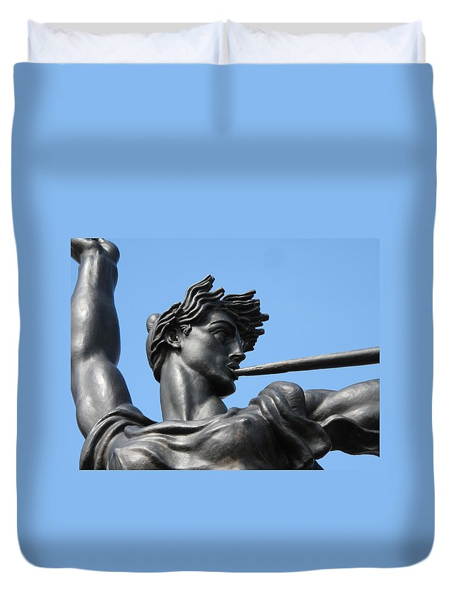 Statue Duvet Cover featuring the photograph Stand Strong by Michele Nelson