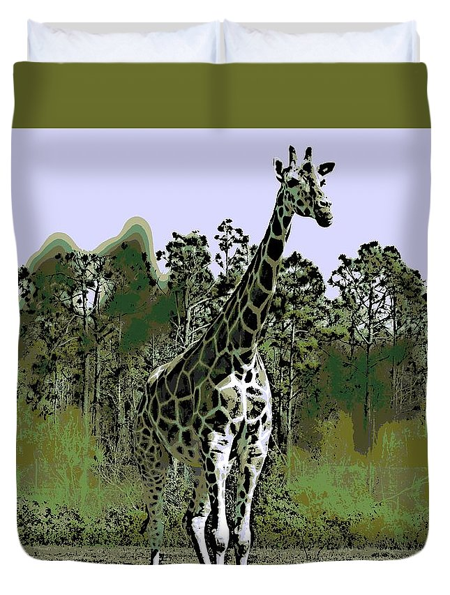 Girraffe Duvet Cover featuring the photograph Standing Tall by George Pedro