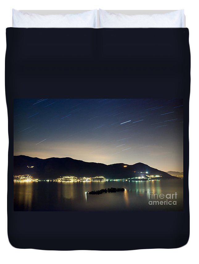 Island Duvet Cover featuring the photograph Star Trails by Mats Silvan