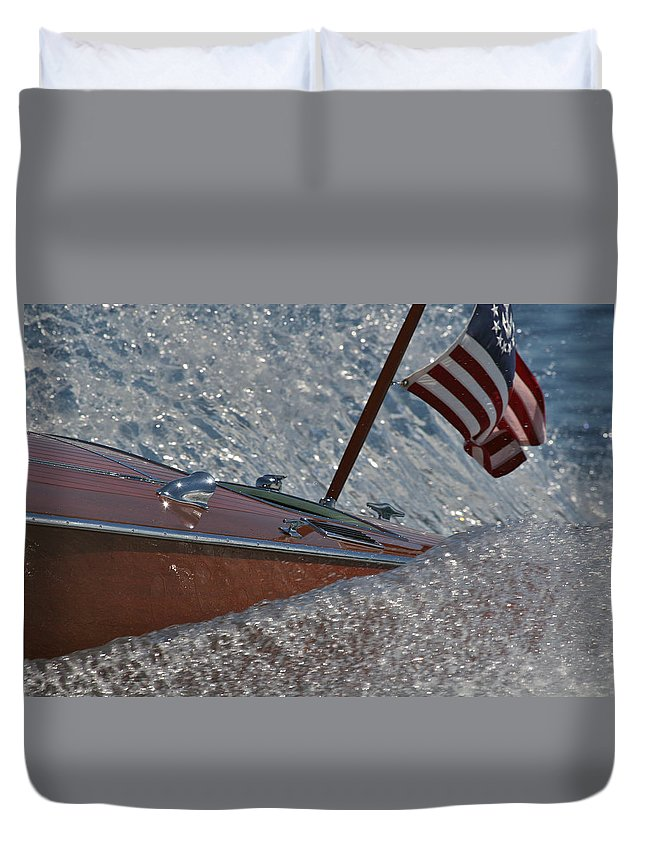 Classic Wooden Runabout Duvet Cover featuring the photograph Stars And Stripes by Steven Lapkin