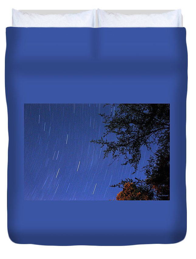 Night Duvet Cover featuring the photograph Stars Falling by Kay Lovingood