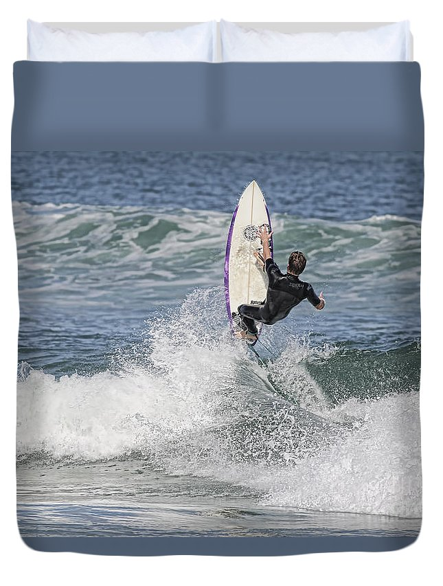 Surfer Duvet Cover featuring the photograph Staying On The Board by Deborah Benoit