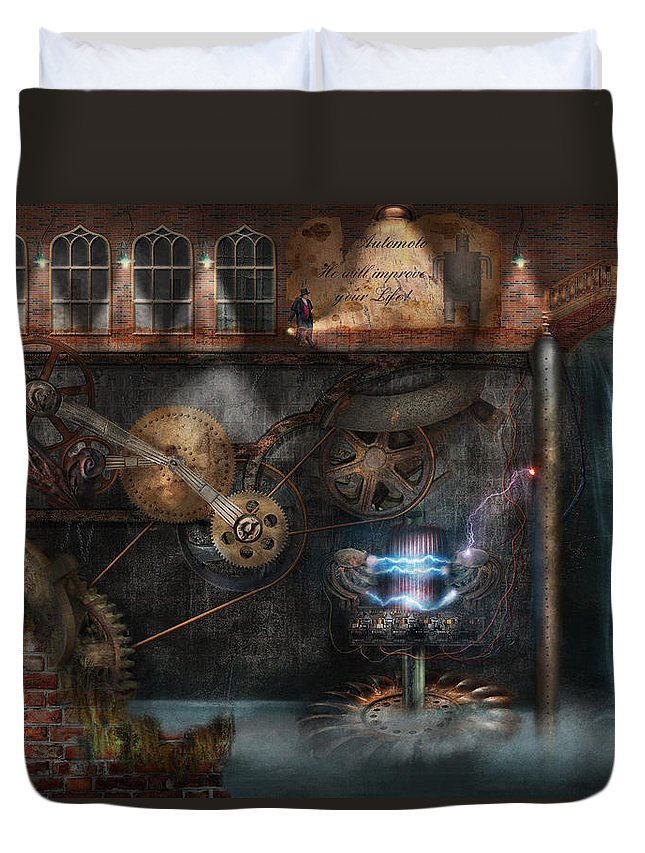 Hdr Duvet Cover featuring the photograph Steampunk - Industrial Society by Mike Savad