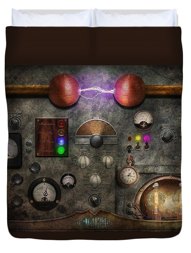 Old Fashioned Duvet Cover featuring the digital art Steampunk - The Modulator by Mike Savad